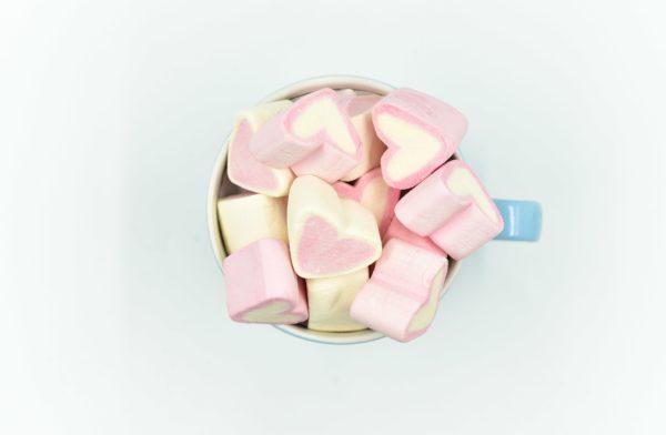 Marshmallows Καρδιά Ρόζ Λευκή
